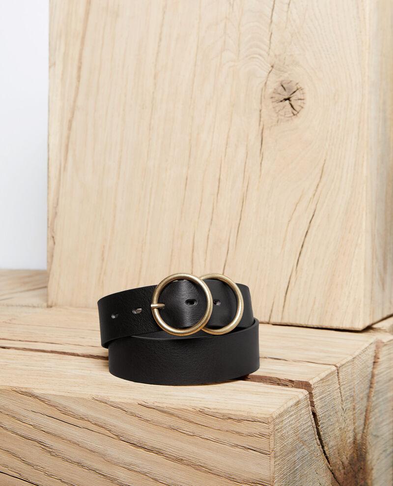 Cinturón de cuero con doble hebilla Noir Idoublo