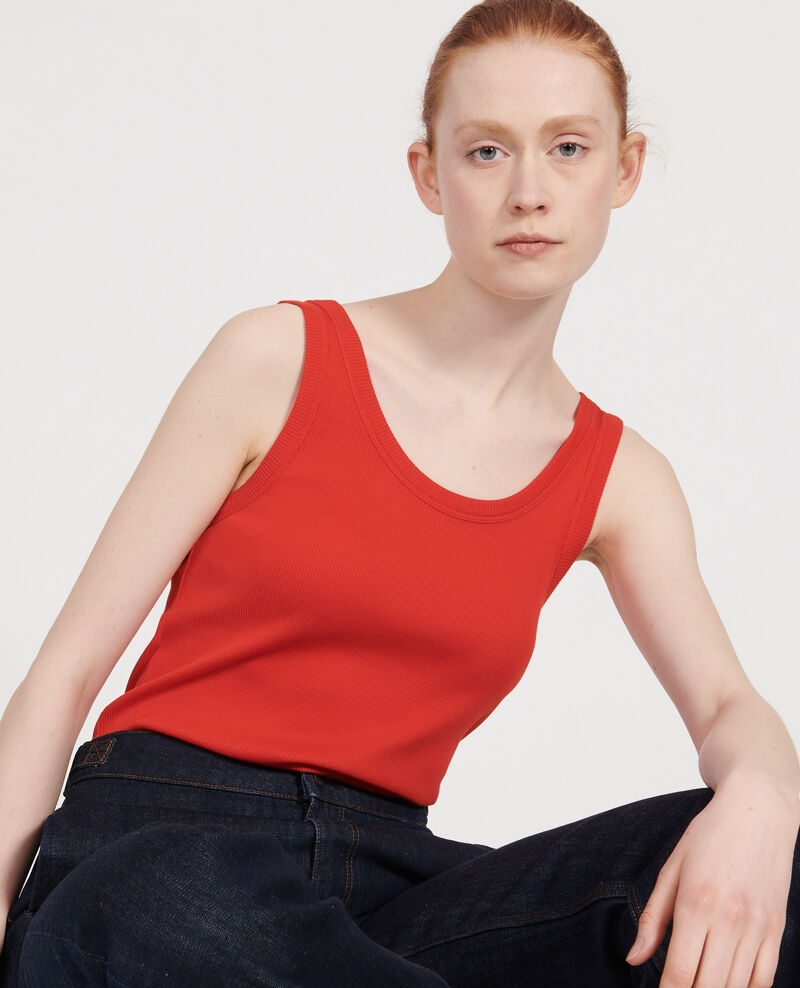 Camiseta de tirantes de algodón mercerizado con canalé Fiery red Locon