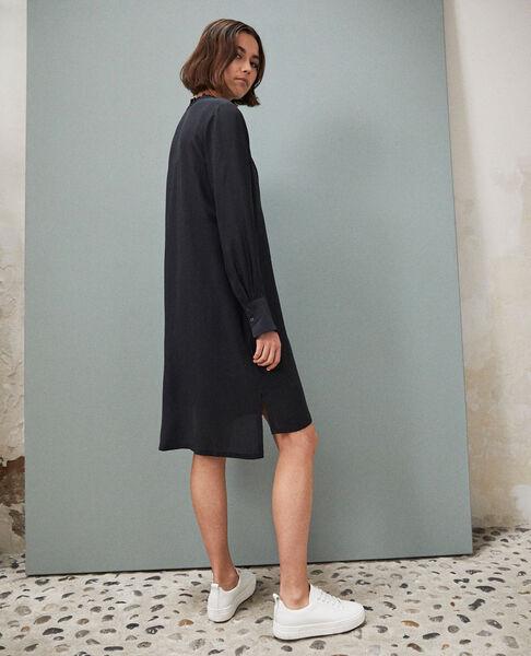 Comptoir des Cotonniers - Vestido de seda con pechera Noir - 3