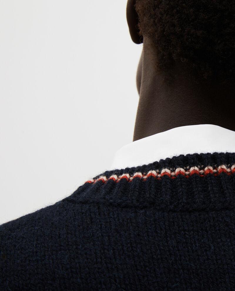 Jersey jacquard sin mangas de lana alpaca Black brandy lighttaupe jacquard Moiran