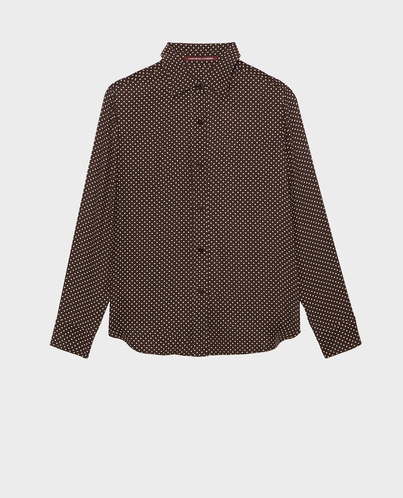Camisa masculina de seda con manga larga Little pois coffee bean Morigesa