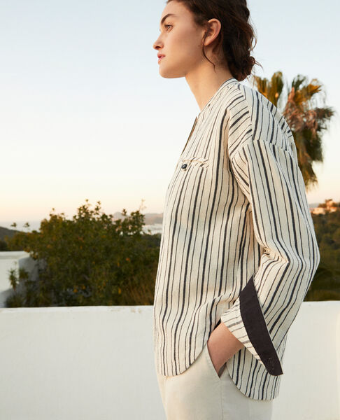 Comptoir des Cotonniers - Camisa rayada Off white/navy stripes - 6