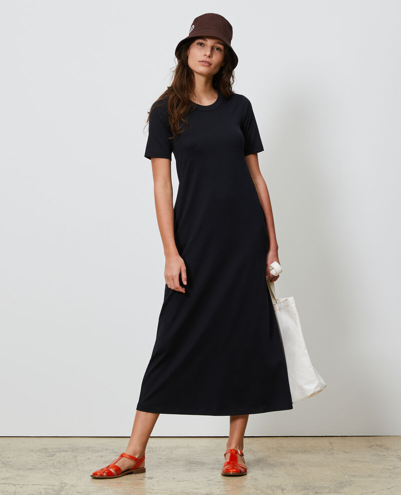 Vestido largo de algodón con cuello redondo Black beauty Larosata