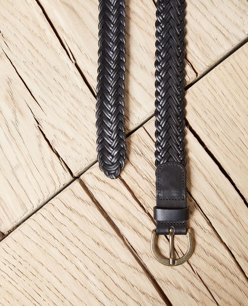 Cinturón trenzado de cuero talla grande Noir Ivoba