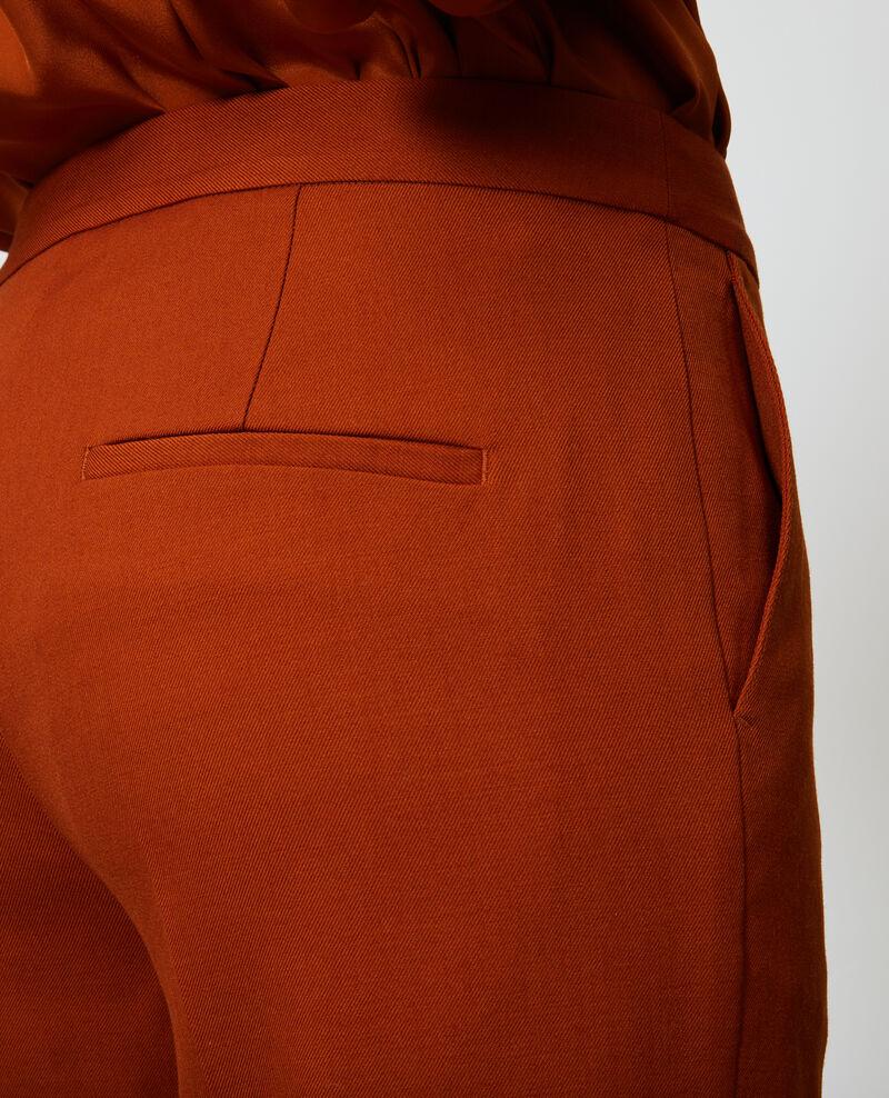 Pantalón MARGUERITE, 7/8 cigarette de lana Umber Noko