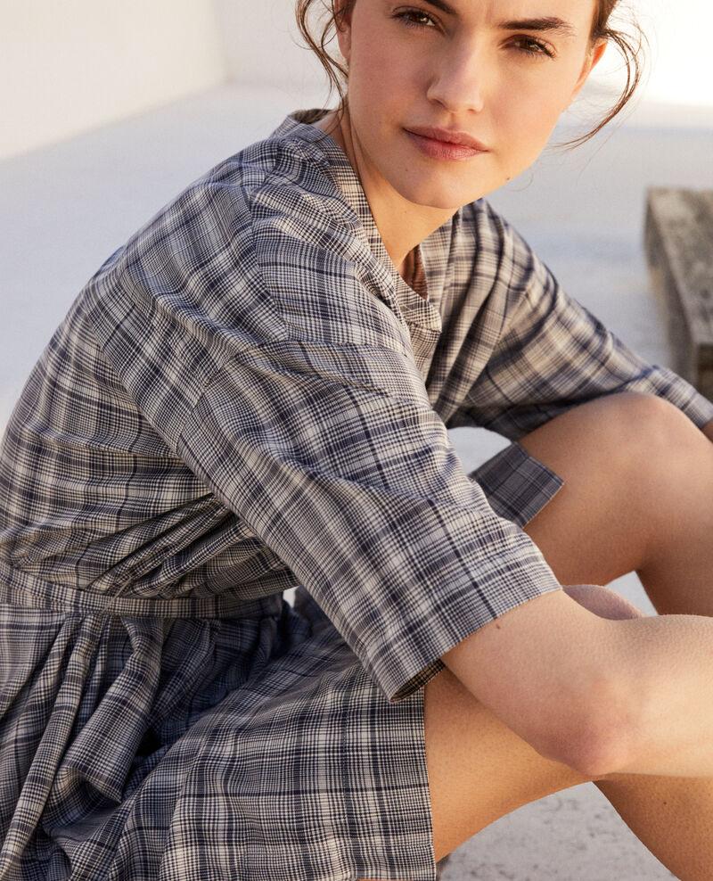 Vestido de algodón Off white/navy Imarine