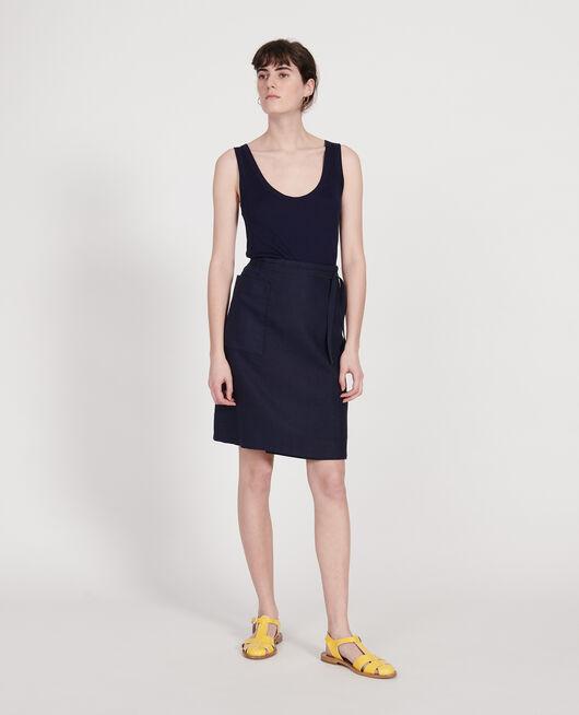 Falda cruzada de lino MARITIME BLUE