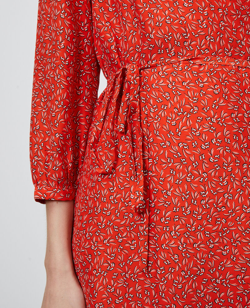 Vestido cruzado de seda de flores Clochette spicy Nireclos