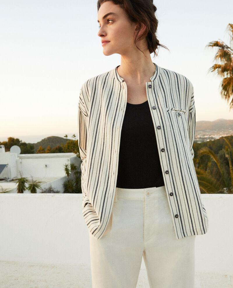 Camisa rayada Off white/navy stripes Francine