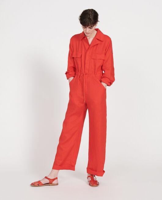 Mono pantalón de lino FIERY RED
