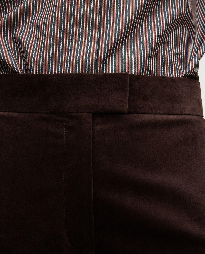 Pantalón campana de terciopelo con talle alto 7/8 Coffee bean Marousseau
