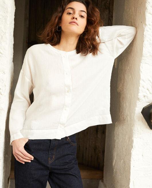Blusa con cuello mao de lino OFF WHITE