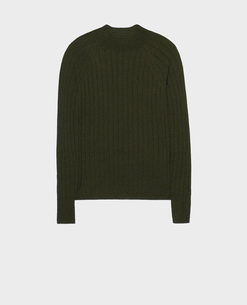 Jersey de canalé con cuello subido de lana merino Military green Mulie
