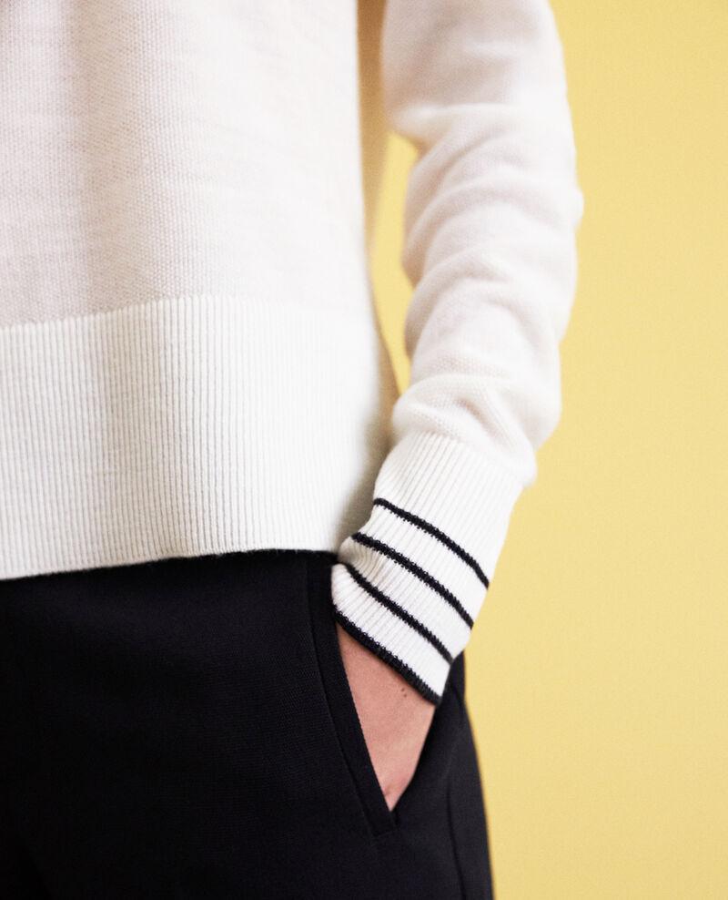 Pull fin en laine merinos Blanc Idile