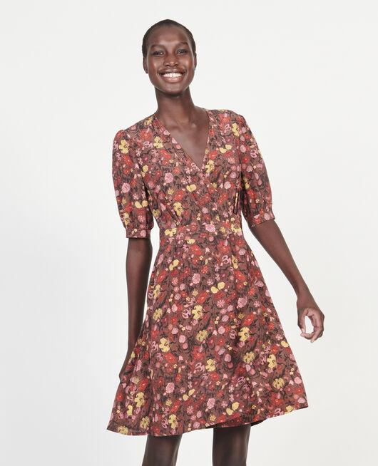 Vestido corto con escote cruzado de seda floral PRINT EDEN TORTOISESHELL