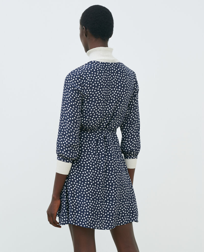 Vestido cruzado de seda Small dots Nireclos