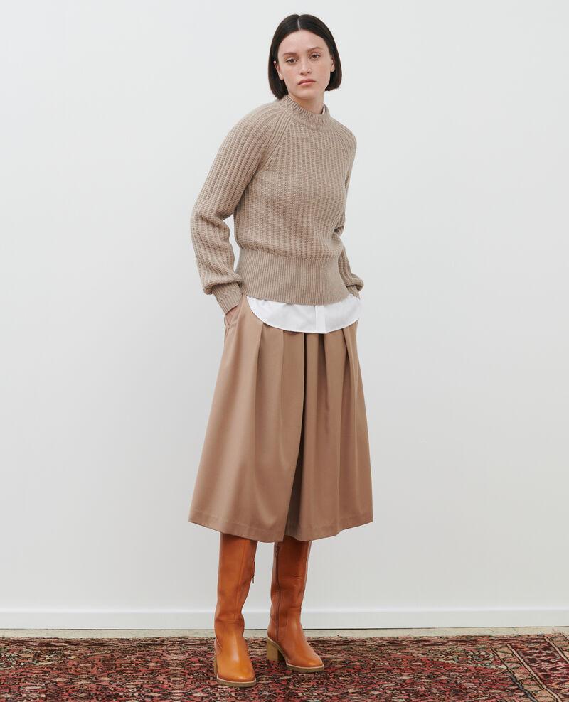 Jersey de lana canalé Latte Ploido