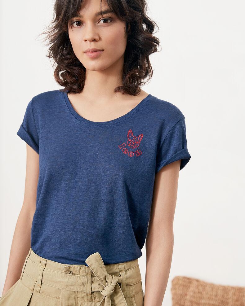 Camiseta de lino con bordado de Léon Indigo/lollipop Folonga