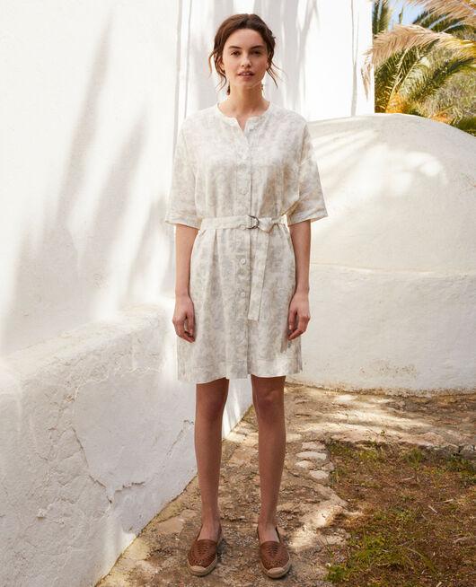 Vestido estampado de lino BANDANA BLUE MIRAGE
