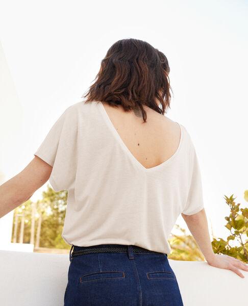Comptoir des Cotonniers - T-shirt col V dans le dos  Off white - 2