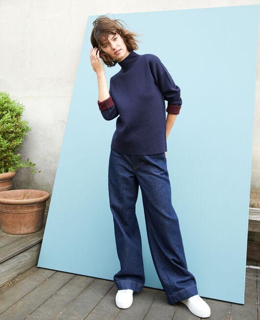 Jersey de doble cara de lana merino Azul