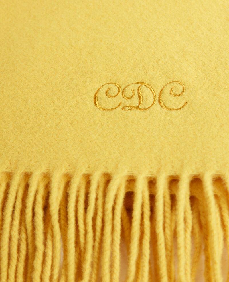Gran bufanda de lana con flecos Lemon curry Mautes