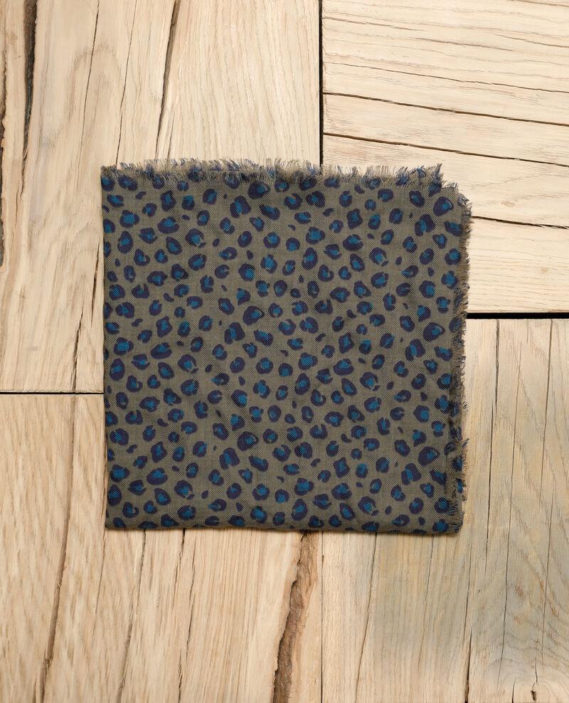 Pañuelo estampado de lana Blue leopard olive night Grae