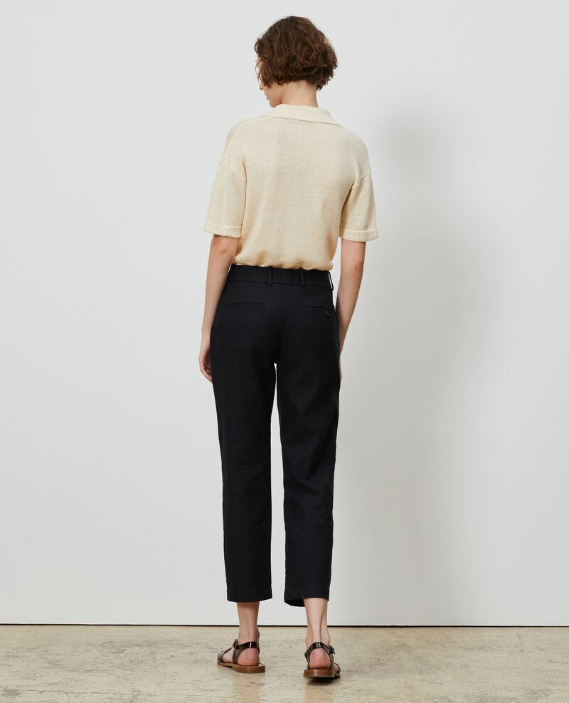 Pantalón de lino y algodón con longitud 7/8 Black beauty Laiguillon