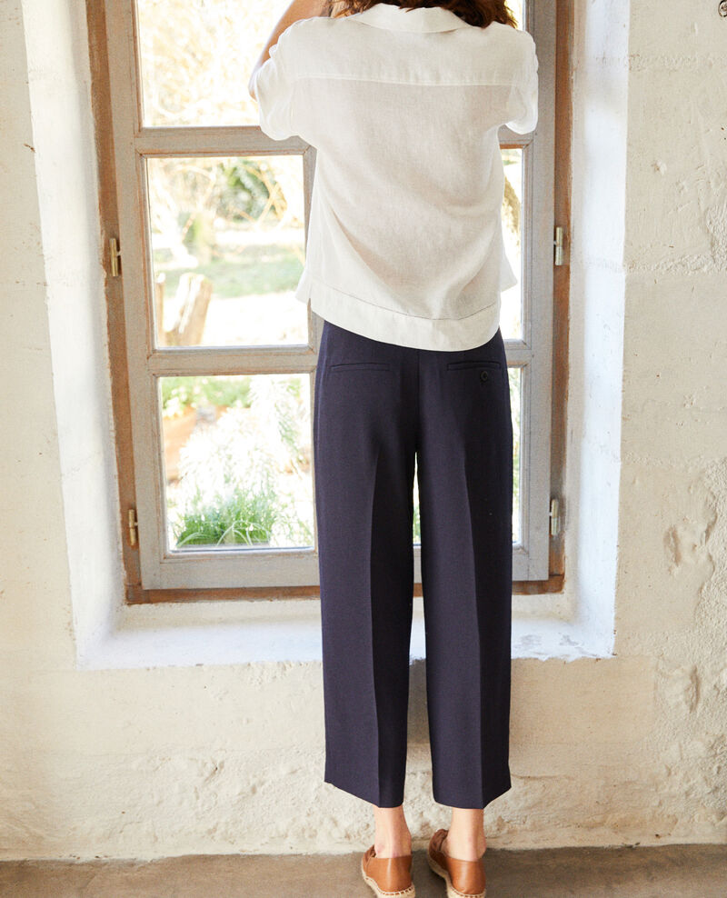Pantalón corte carrot ancho Navy Ibia