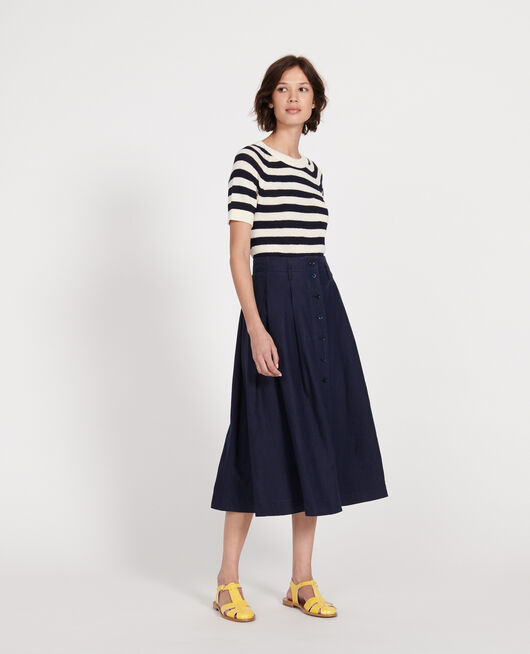 Falda larga de lino MARITIME BLUE