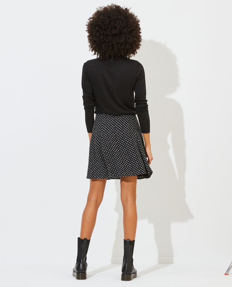 Minifalda de patinadora estampada Birdy black Pitite