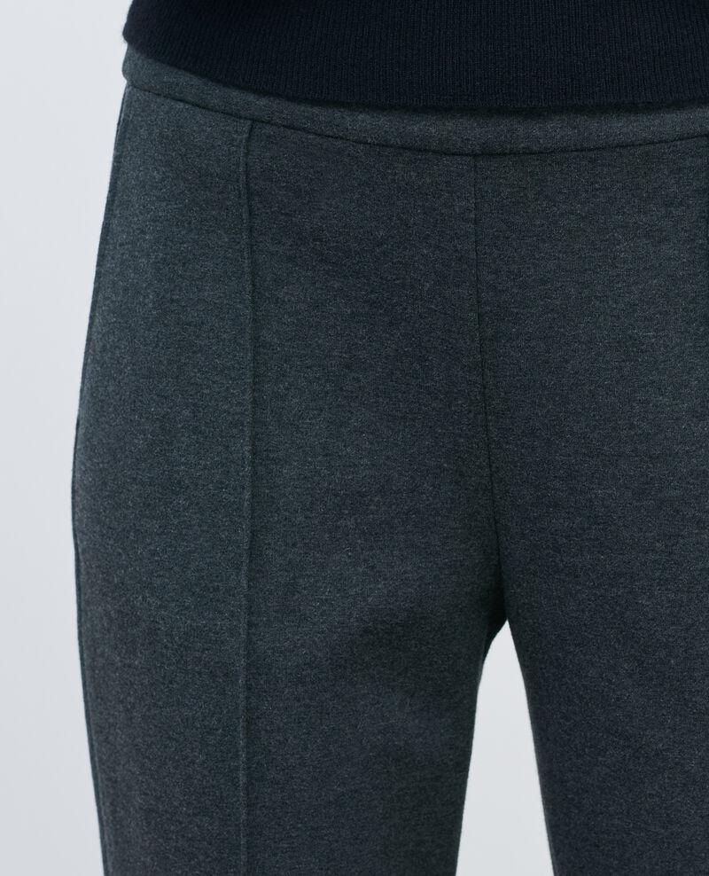 Pantalón MARGUERITE, ajustado 7/8 de lana Dark grey chine Pevy