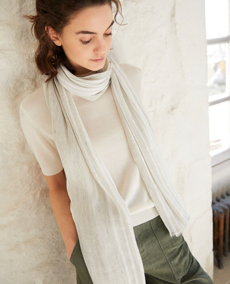 Foulard avec du lin Light grey/w Icli