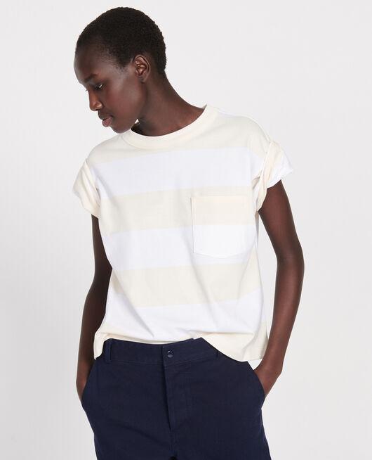 Camiseta rayada oversize de algodón mercerizado STR OPTICALWHITE BUTTER