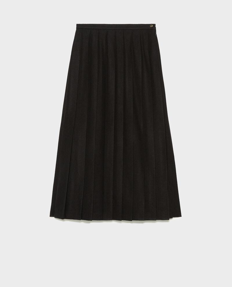 Falda plisada de tweed de lana Black beauty Mialos