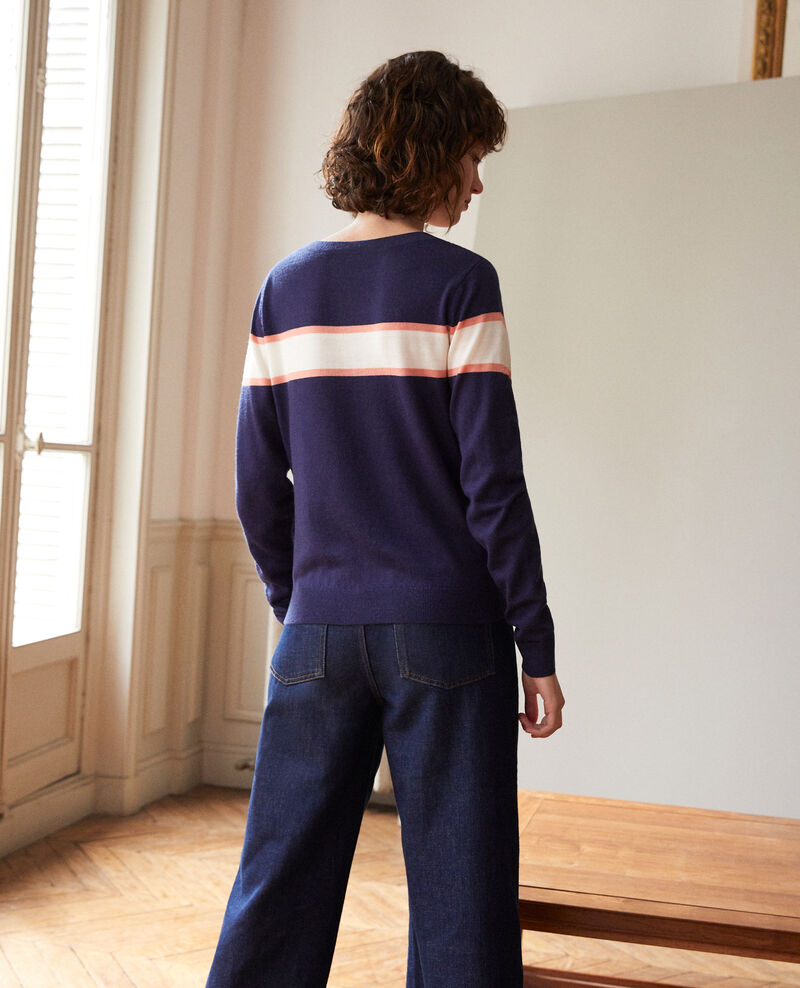 Cárdigan de lana merino Azul Gengoux