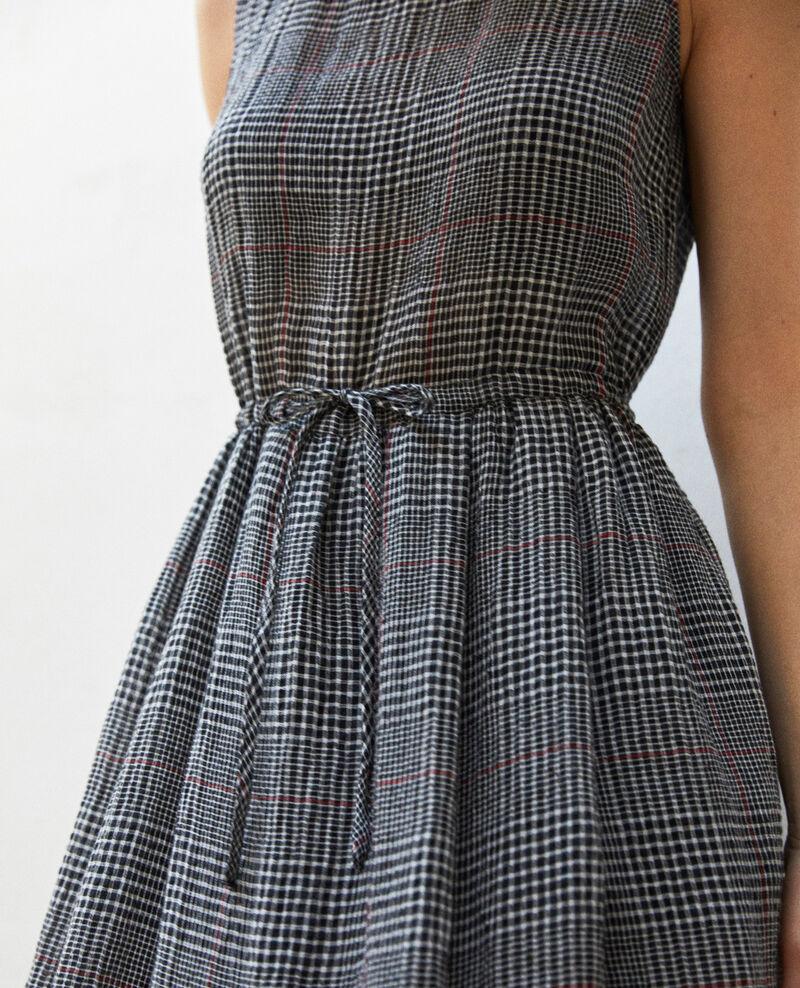 Vestido la largo medio con lino Noir/blanc/rouge Ilibe