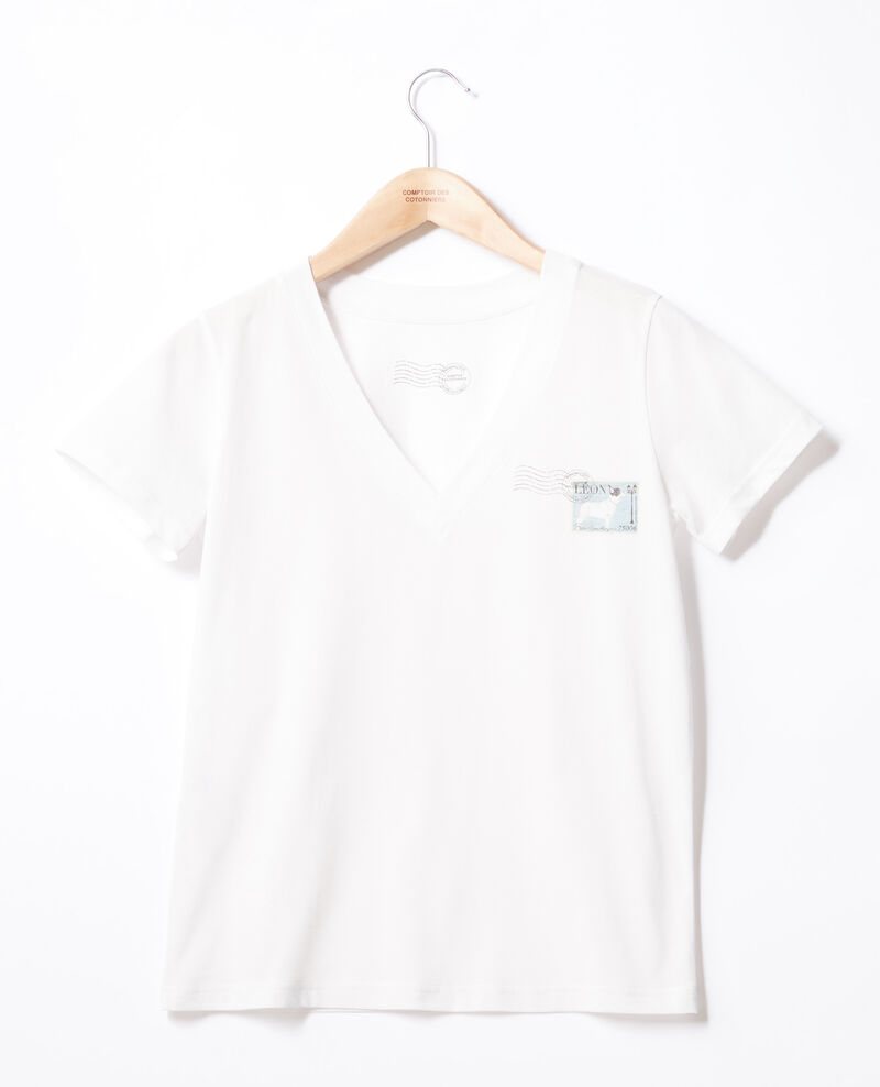 Camiseta Léon Off white Fimbre