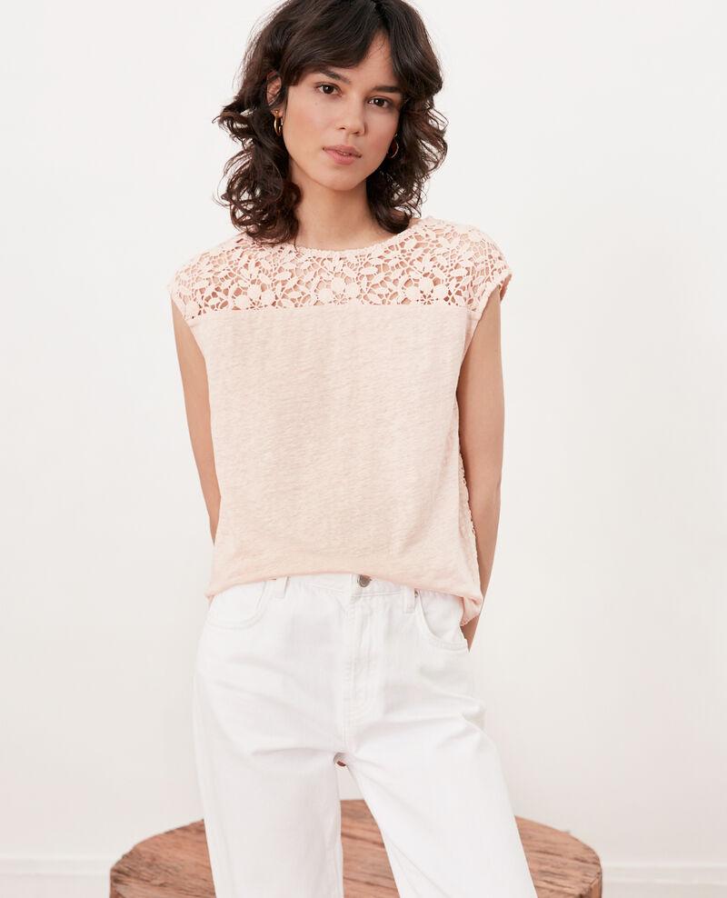 Camiseta de lino con espalda de encaje Nude Furbigo