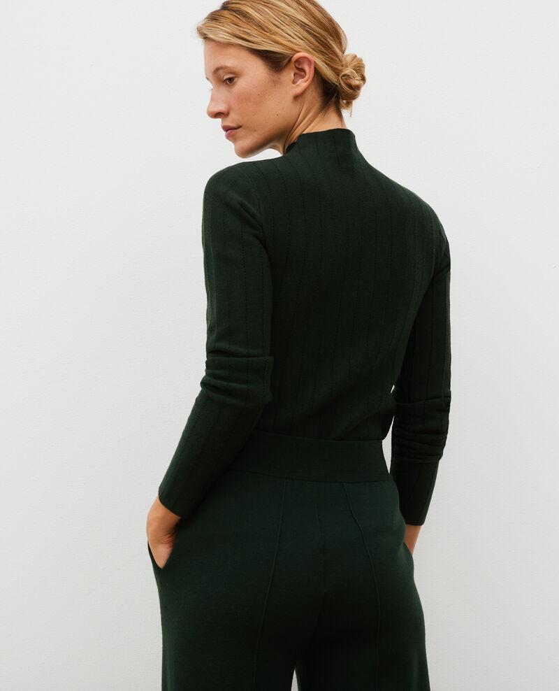 Jersey de lana merino con cuello subido Military black jacquard Marquisa