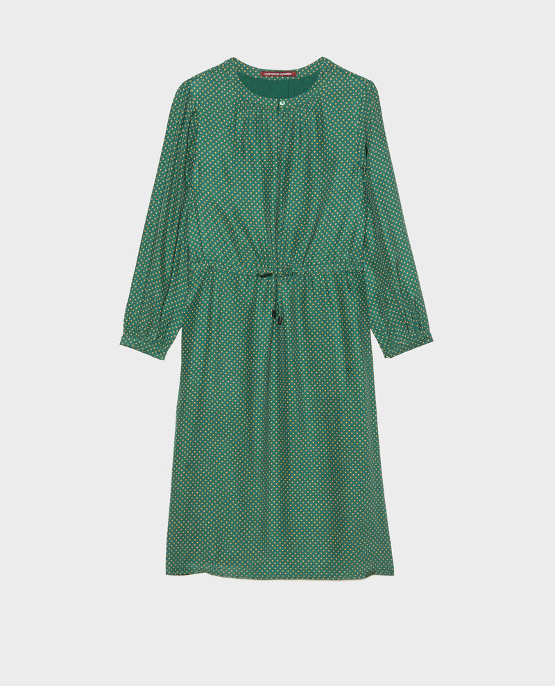 Vestido amplio de seda Little pois dark green Megrisa
