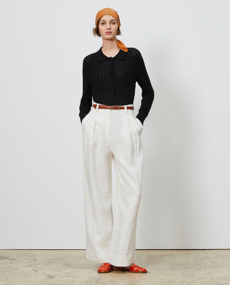 Pantalón YVONNE de lino con talle alto Gardenia Lafare