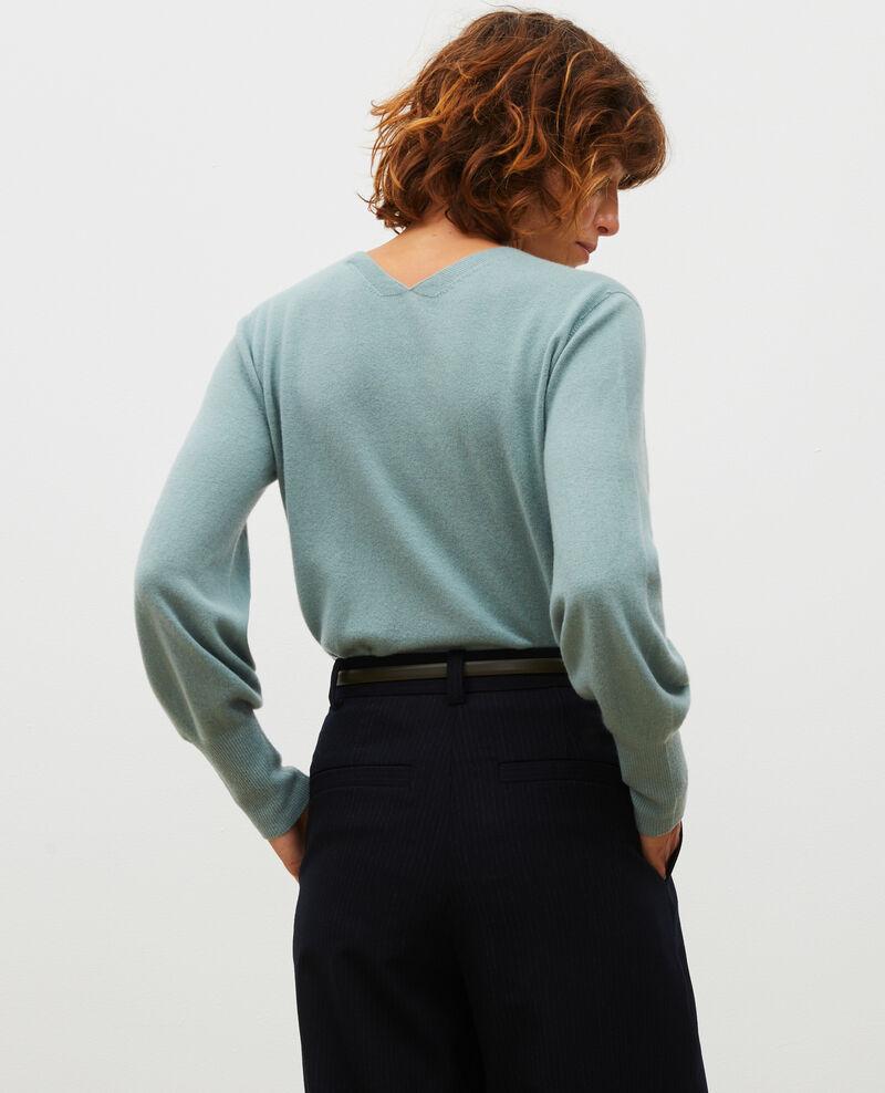 Jersey fino de cachemir 3D con cuello de pico Chinois green Manona