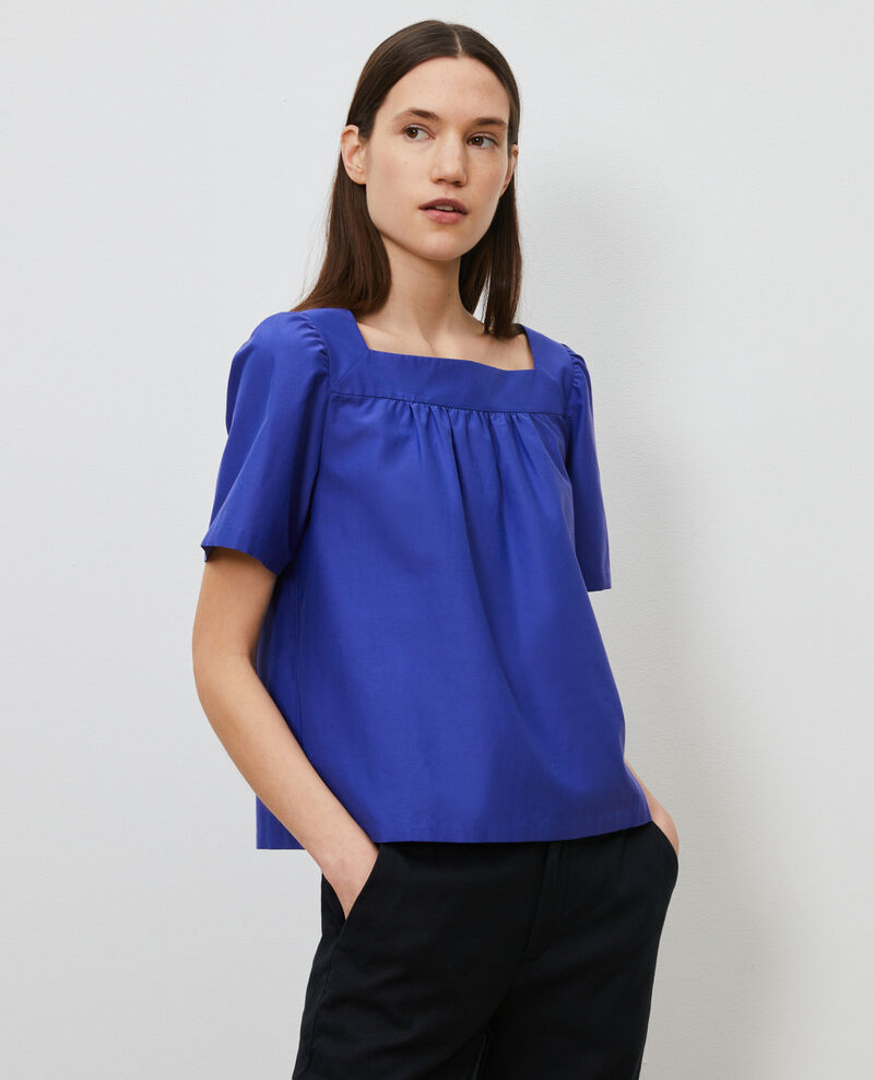 Top de seda y algodón Royal blue Nondo