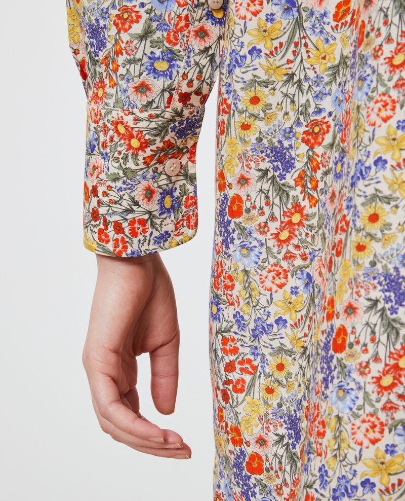 Vestido camisero de algodón y seda Prairie gardenia Nyonsaise