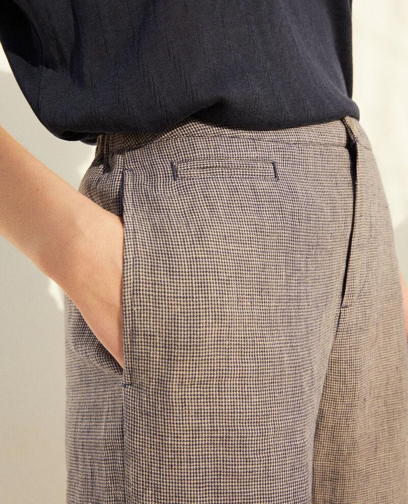 Pantalón corte carrot Natural linen/ink navy Iphonow