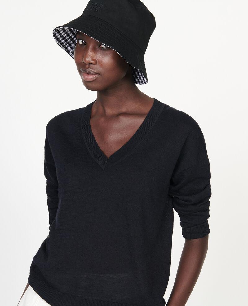 Jersey con cuello de pico de lino y algodón Black beauty Leonotis