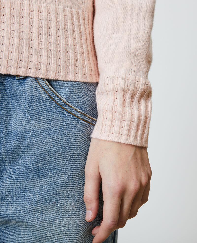 Jersey de cachemir con cuello redondo Seashell pink Nogna