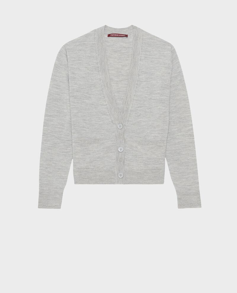 Cárdigan corto de lana merino Melange grey Palabre