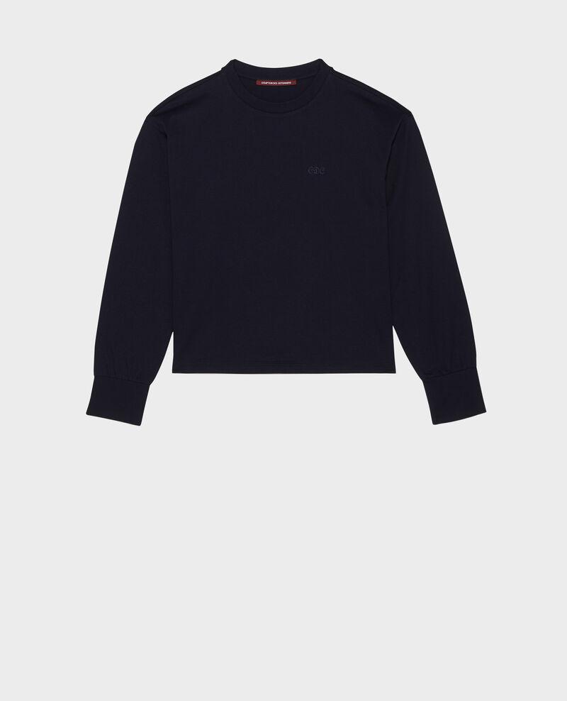 Camiseta de algodón con cuello barco y manga larga Night sky Mainzac